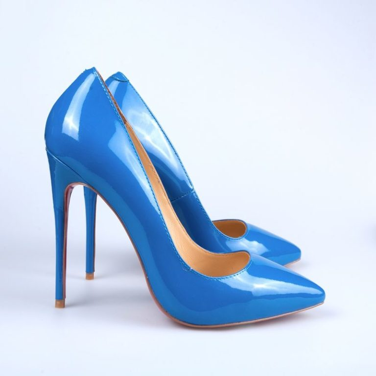 Blue shoes isolated on white background