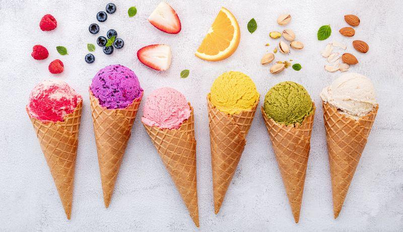 Various of ice cream flavor in cones blueberry ,pistachio ,almon