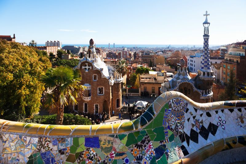 View of Park Guell in winter